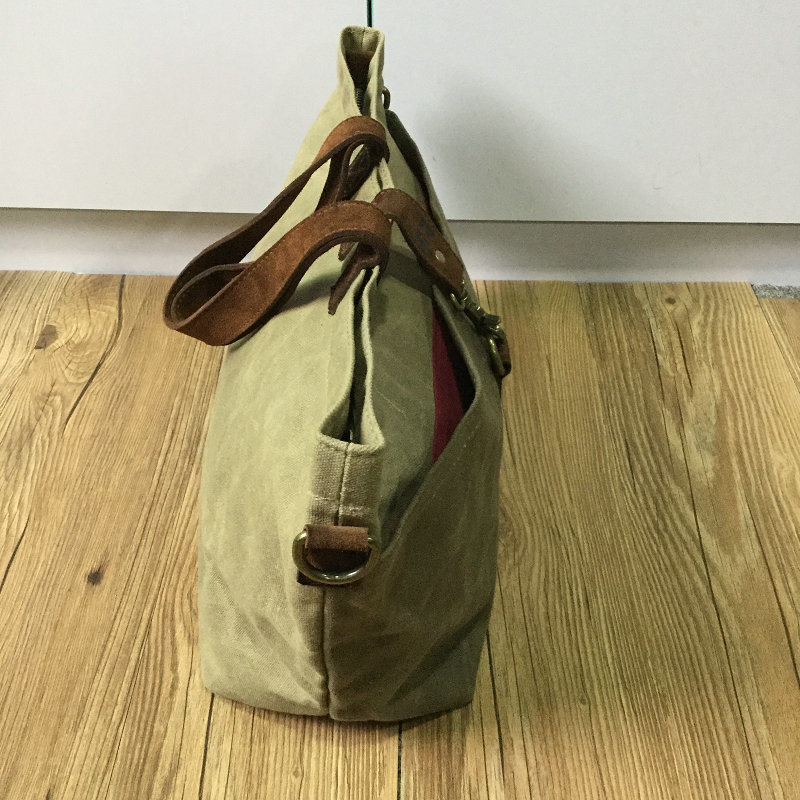 Custom High Quality Waxed Canvas Tote Bag with Leather Handles China Factory