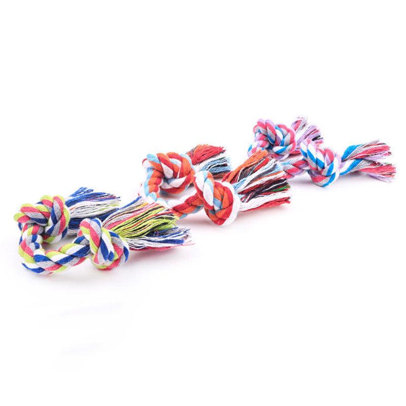 Pet Dog Puppy Cotton Braided Knot Bone Rope Chew Tug Training Play Toy