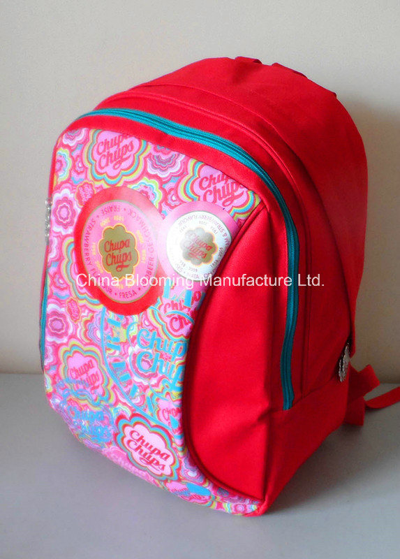 Red Printed Polyester Girls Student School Back Pack Bag Backpack