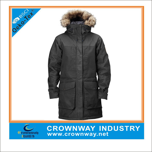 Men Military Insulated Parka Jacket with Fur Hoody