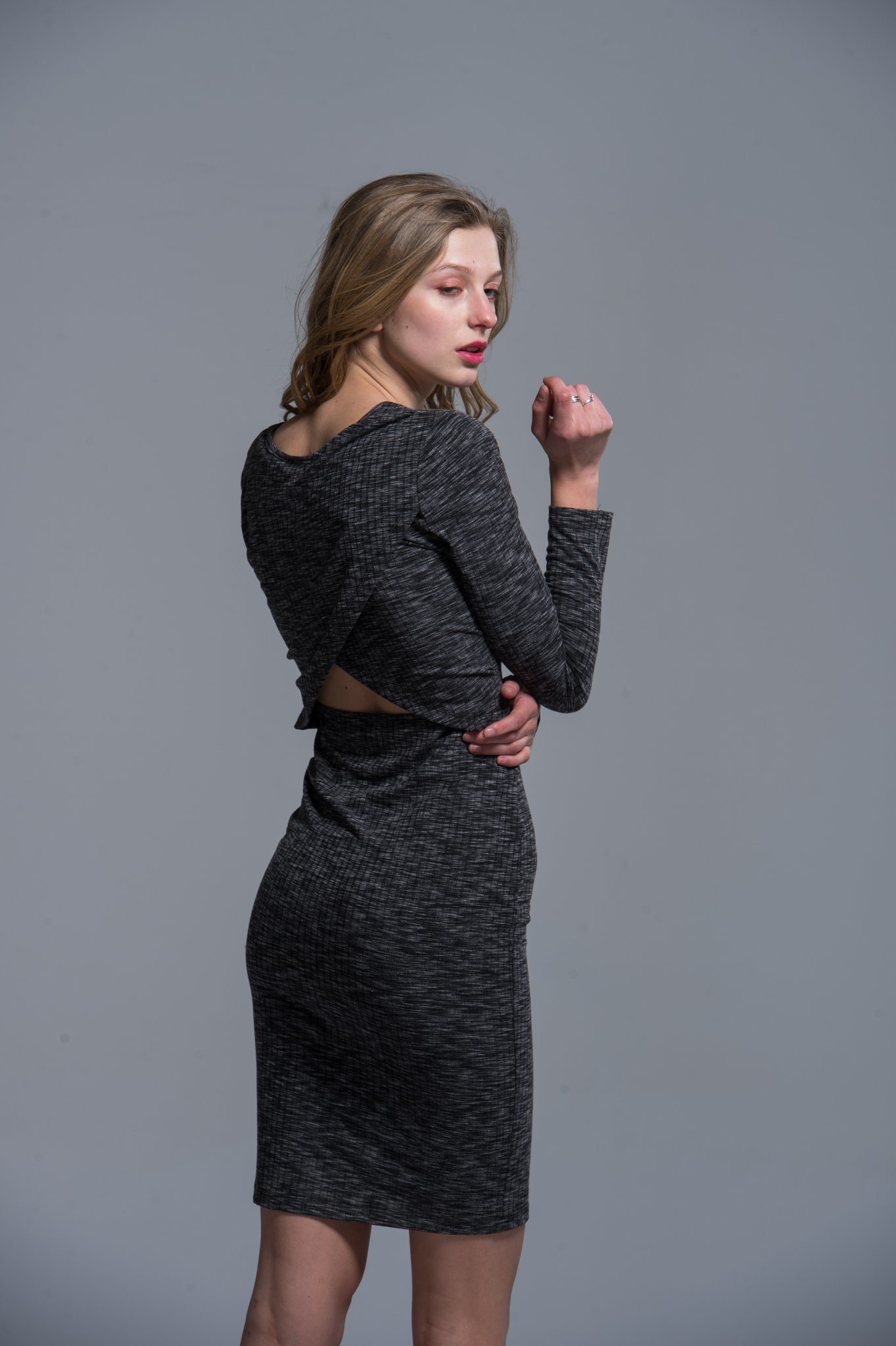 Ladies Rayon Dress Fashion Black Spring Autumn Back Sexy Long Women