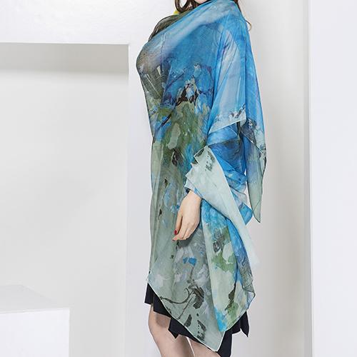 Ladies Fashion Silk Scarf, Digital Print