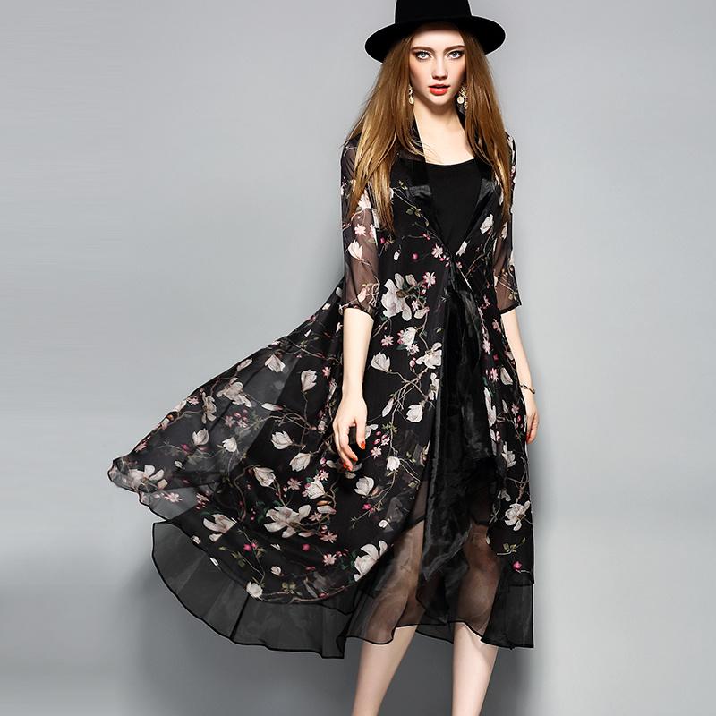 Black Knee Length Floal Printed Lace-up Women Dress