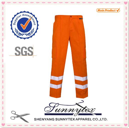 2017 High Quality Hi Vis 100% Cotton Reflective Work Pants Uniform for Men