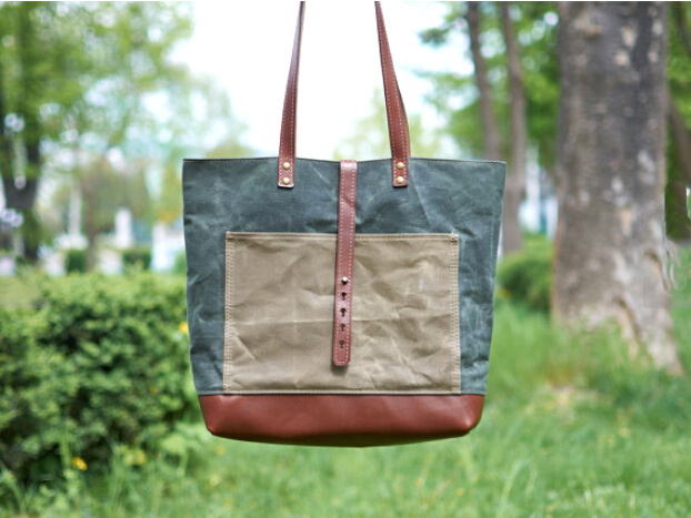 Waxed Canvas Tote Bag with Leather Handle Manufacturered in Factory