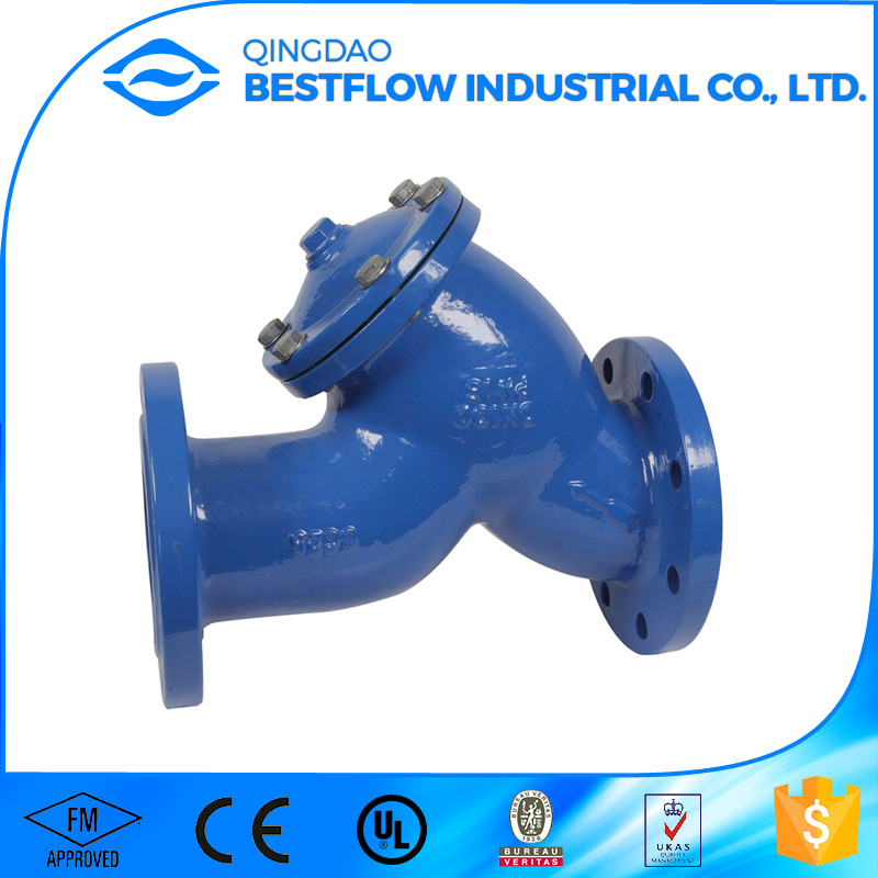 20bar 300psi Awwa FM UL Approved Ductile Iron Flange Ends Y Strainer for Fire Protection