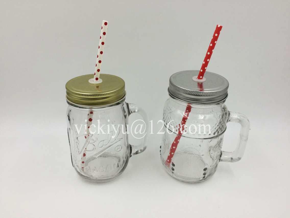 250ml Glass Mason Jar with Straw