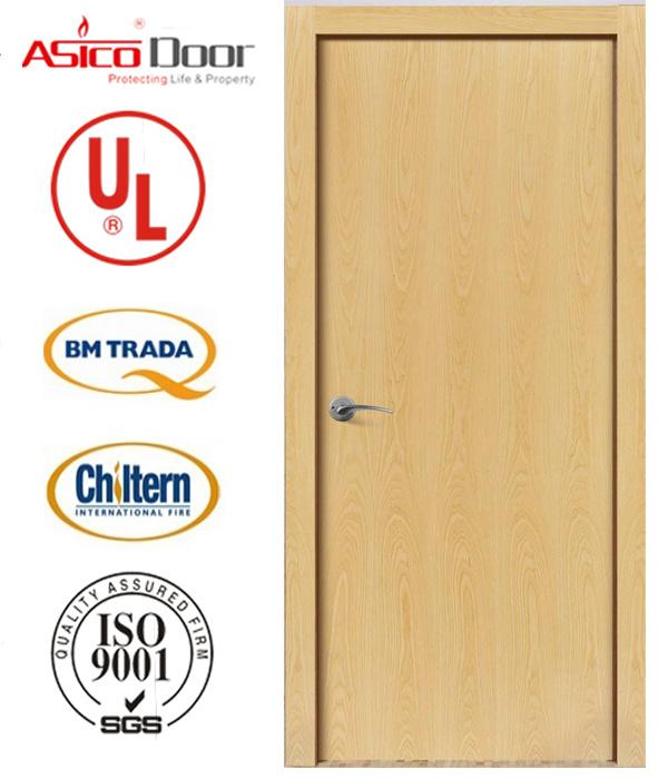 Solid Wooden Door Fire Door with UK Bm Trada Certification European American Style Safety Door