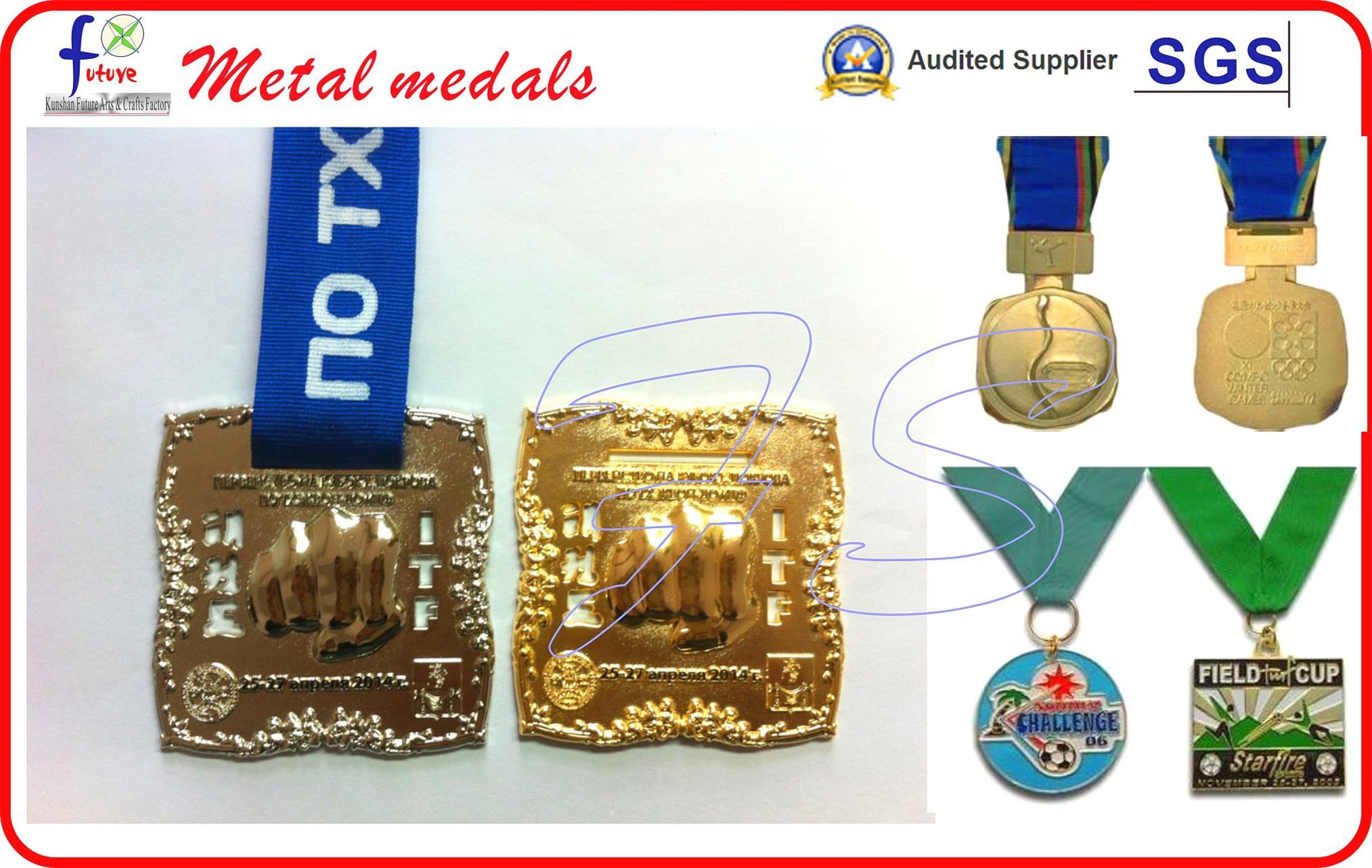 Antique Sliver Plated Soft Enamel Sport Medals