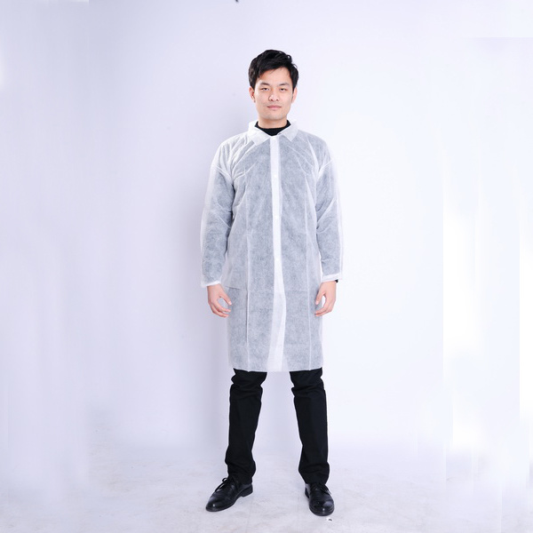 Disposable Polypropylene Non Woven Lab Coat Visitor Coat Isolation Gown