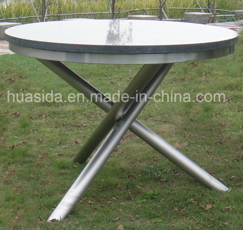 Rustless 304 Stainless Steel Garden Round Marble Table Set