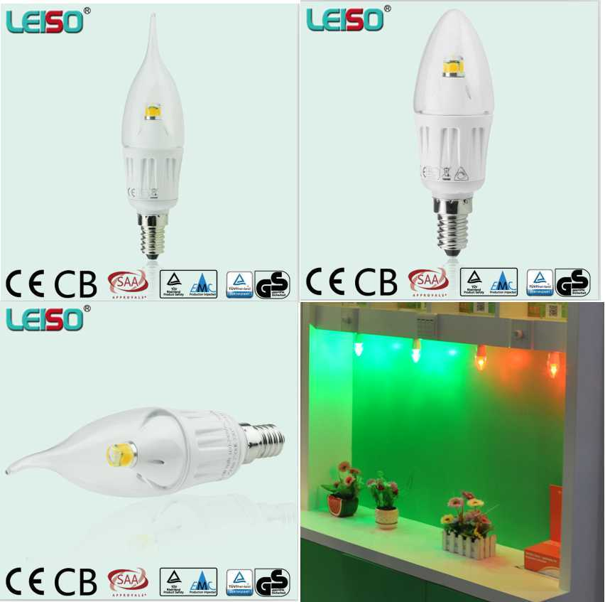C35 35W Replacement White Transparent 4W Scob LED Candle
