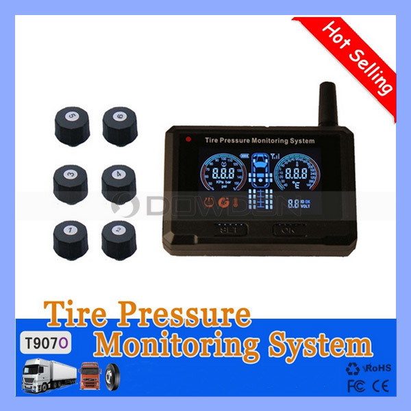 T907o Real Time Displaying 6 External Sensor Tire Pressure Monitor System TPMS for Truck Carriage