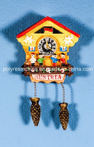 Polyresin Cuckoo Clock of Kuckucksuh with Fridge Magnet