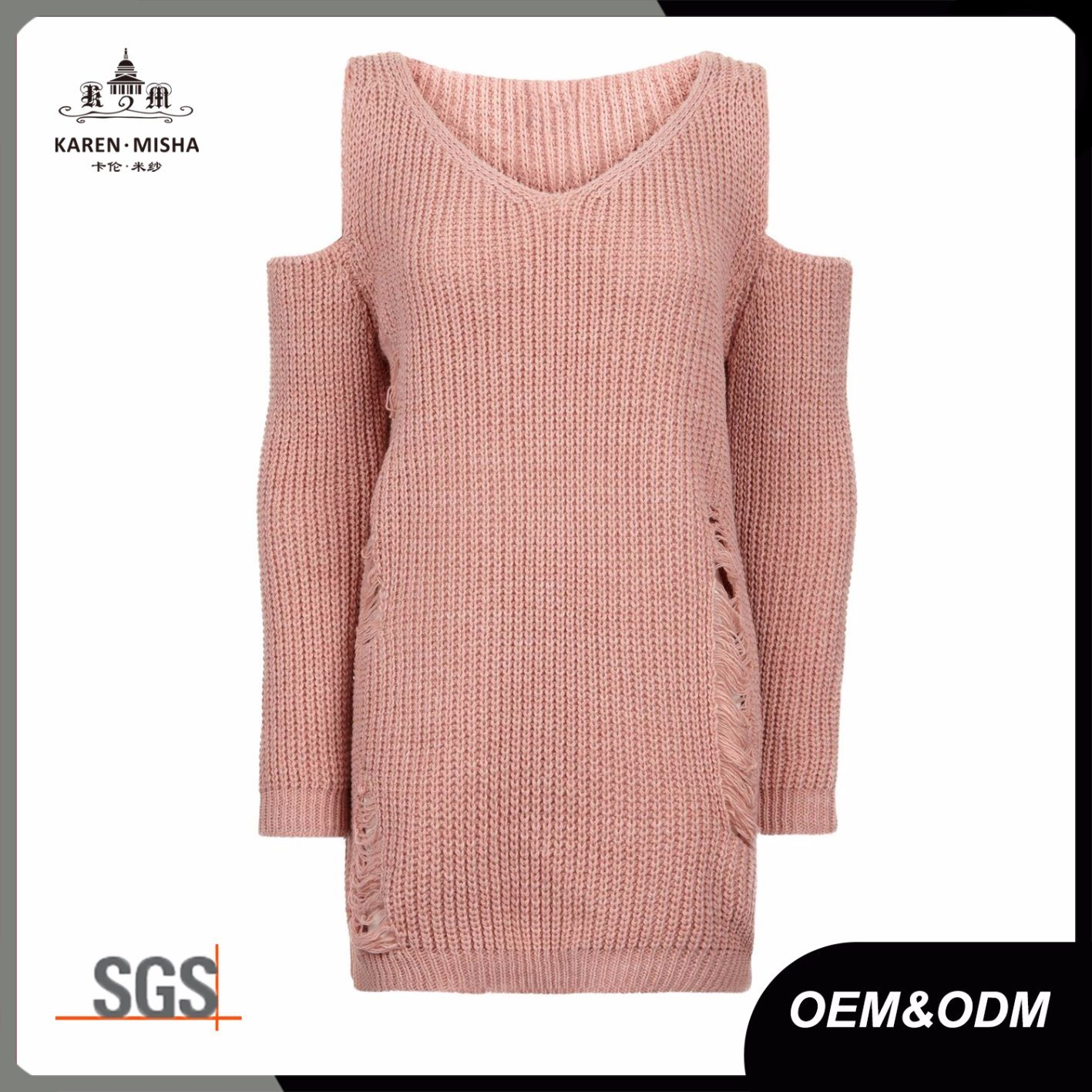 Blush Pink Ladies Cold Shoulder Ladder Knit Fashion Jumper Sweater
