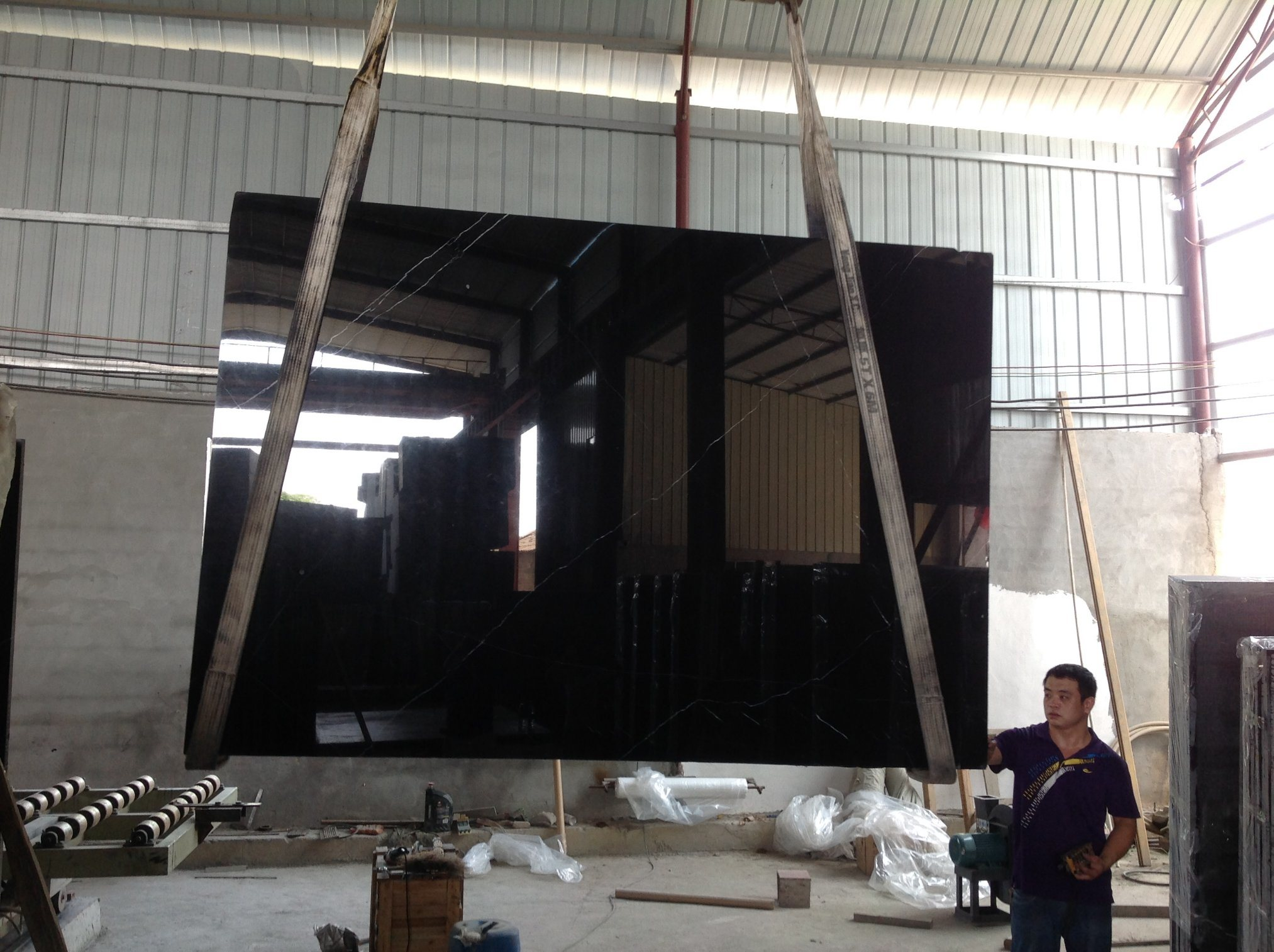 Polished Nero Marquine Marble Black Marble for Wall and Floor