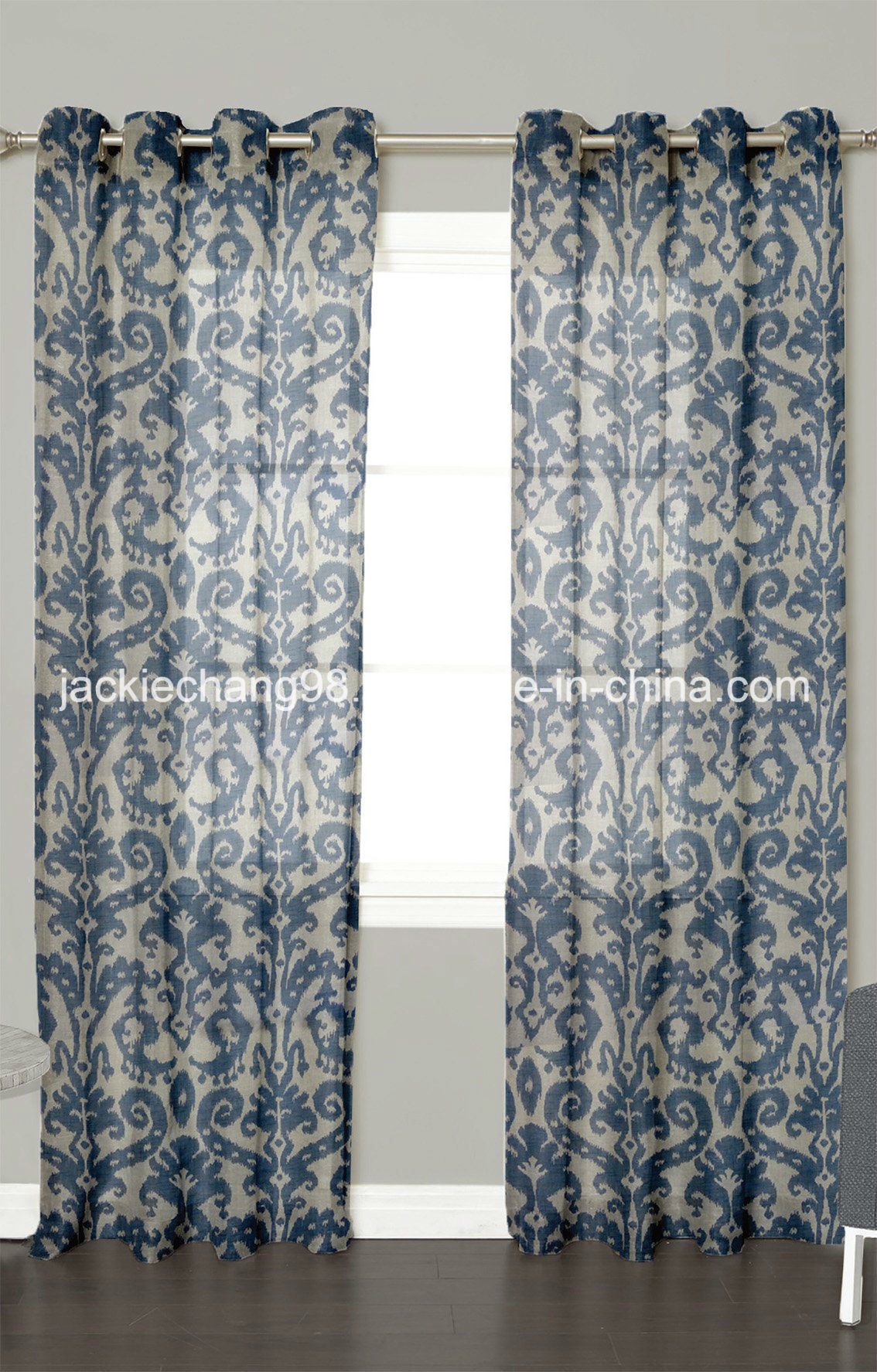 Printed Faux Linen Sheer Grommet Panel