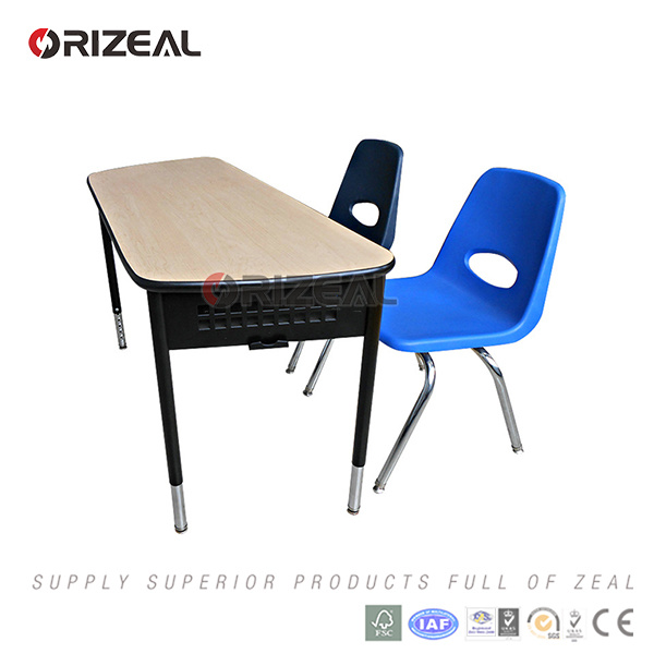 Orizeal 2017 New Style Product Height Adjustable Chrome Frame Single School Desk and Chair