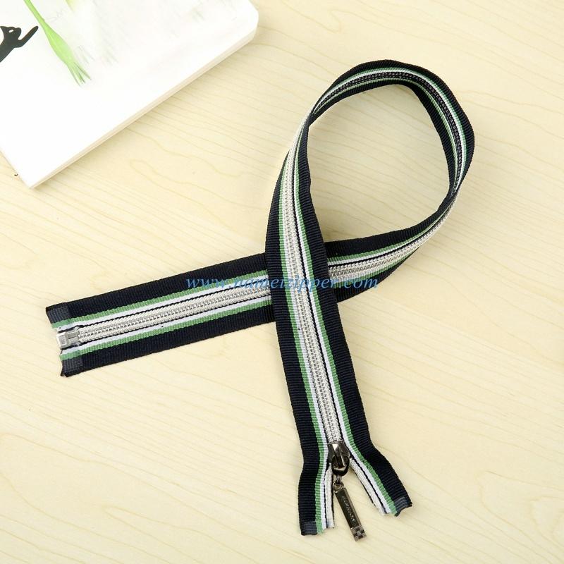 No. 5 Nylon Zipper O/E a/L with Colored Zipper Tape
