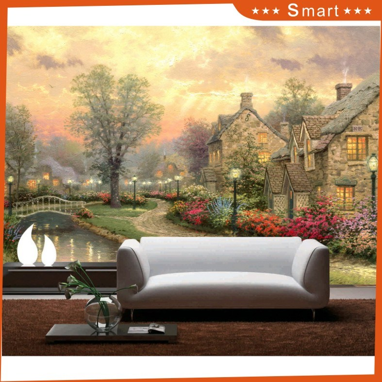 Beautiful Europe Village Scenery at Night Time Canvasoil Painting