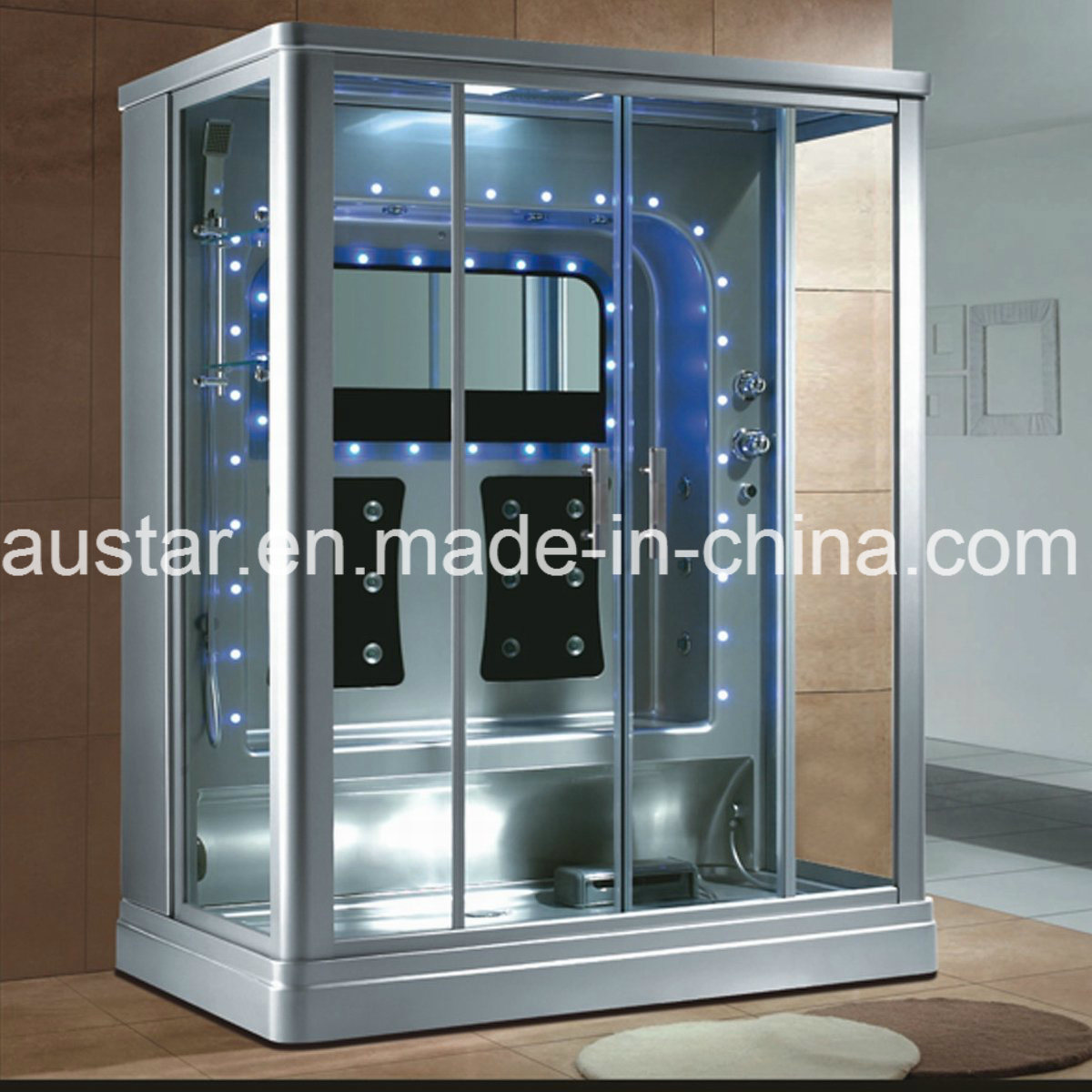 1600mm Rectangle Gray Steam Sauna with Shower for 2 Persons (AT-0219)