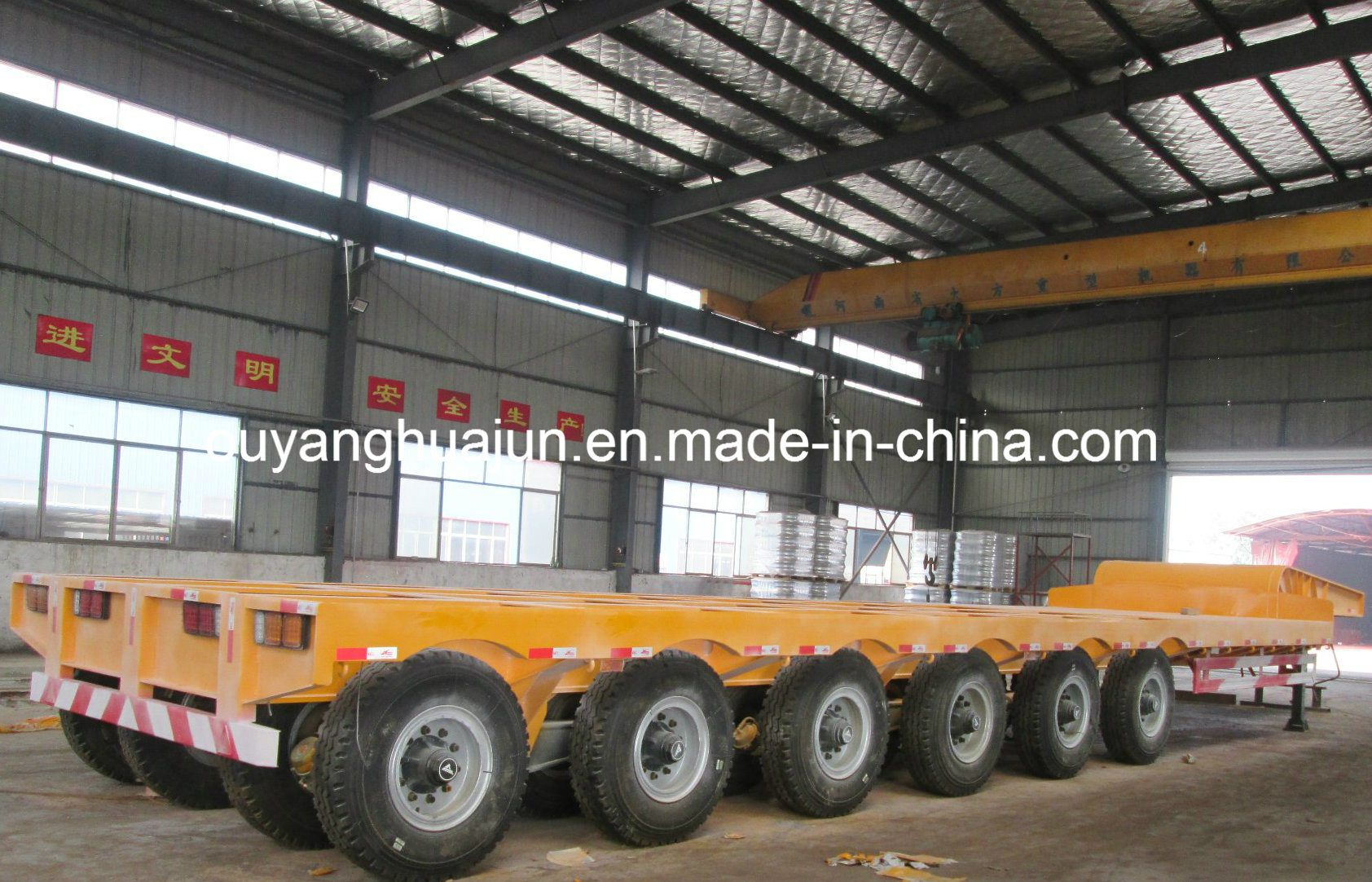 2 Axles Super Low Bed Flatbed Semitrailer