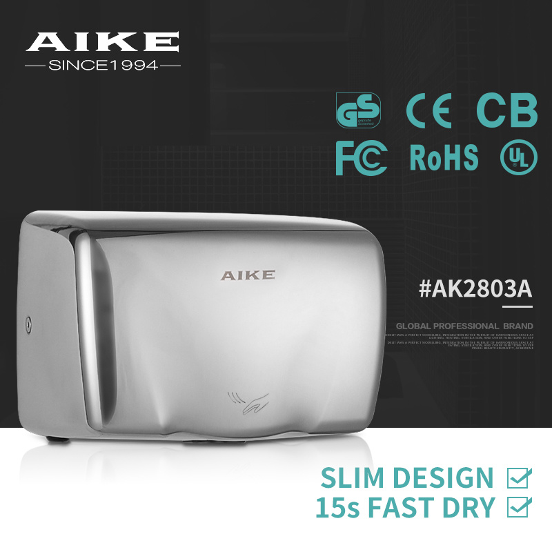 AK2803A Aike Hand Dryer Manufacturer Commercial Price of Small Stainless Steel Auto Hand Dryer
