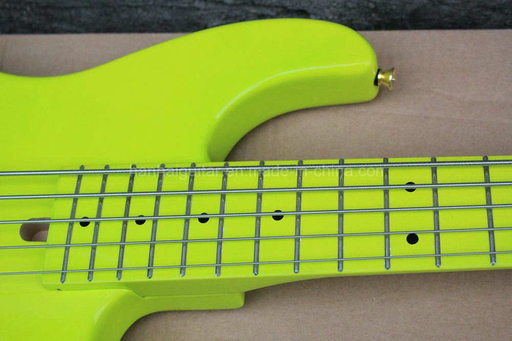 Hanhai Music/Fluorescent Green 5 Strings Electric Bass with Alder Body