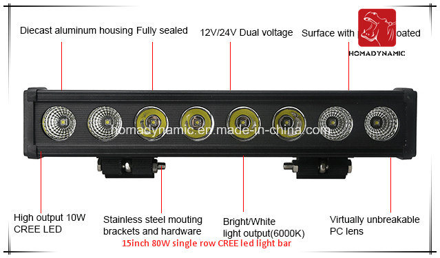 LED Car Light 15inch 80W Single Row CREE LED Light Bar Waterproof for SUV Car LED off Road Light and LED Driving Light
