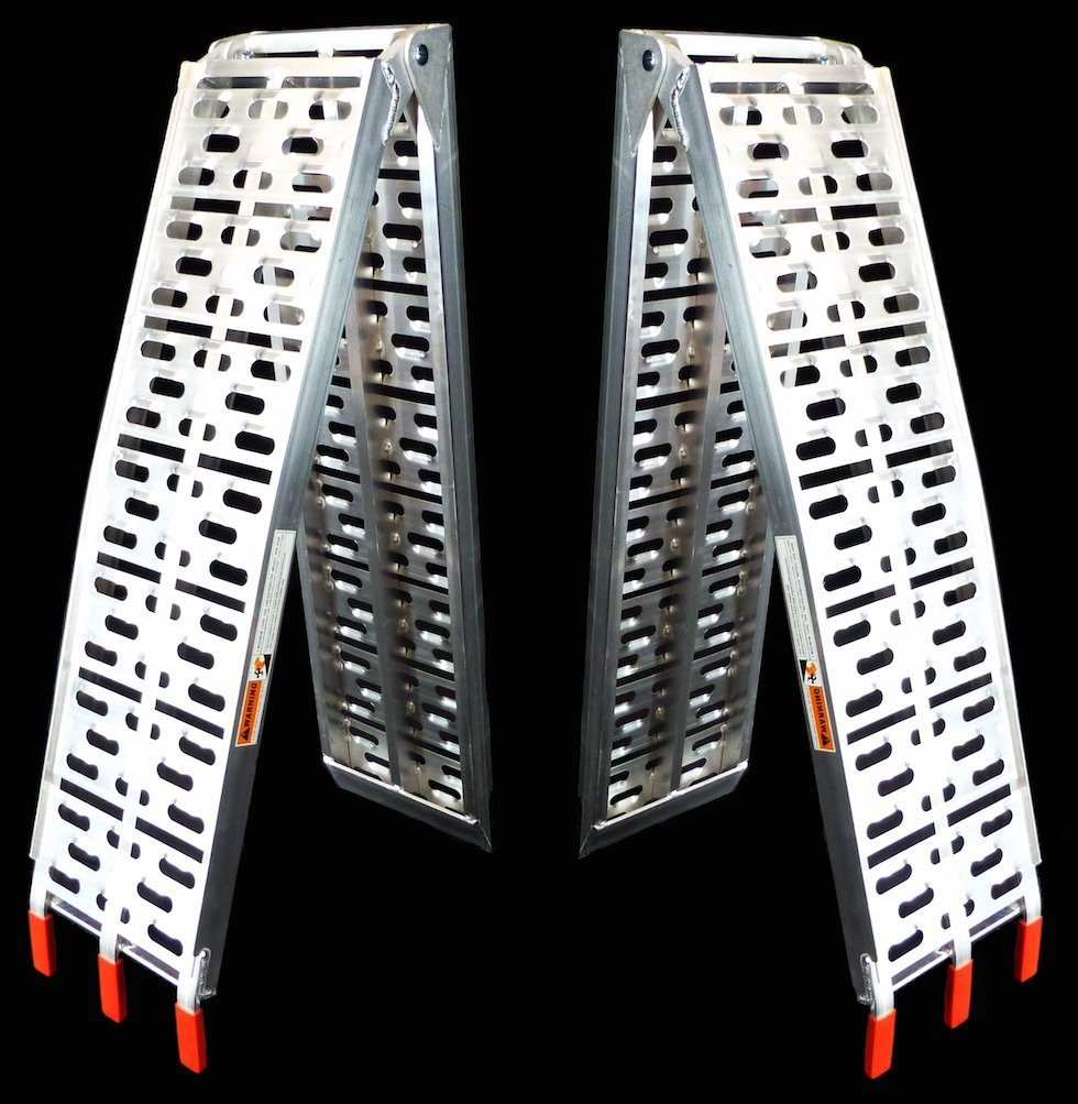 """90"""" Dual Runner Aluminum Solid Surface Arched Folding ATV Ramps with a 1, 500 Lb. Capacity"""