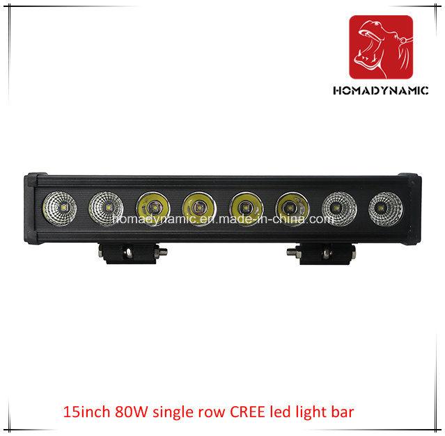 LED Car Light 15inch 80W Single Row CREE LED Light Bar Waterproof for SUV Car LED off Road Light and LED Driving Light