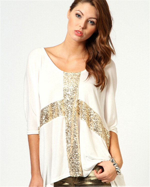Laterst Summer Women Tops Loose Casual Bat-Like Ladies Garments (MU2379)
