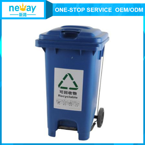 Hot Sale Blue 120L Outdoors Dustbin with Wheel