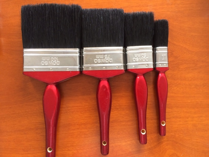 Wooden Handle 628 Paint Brush with Black Bristle Material