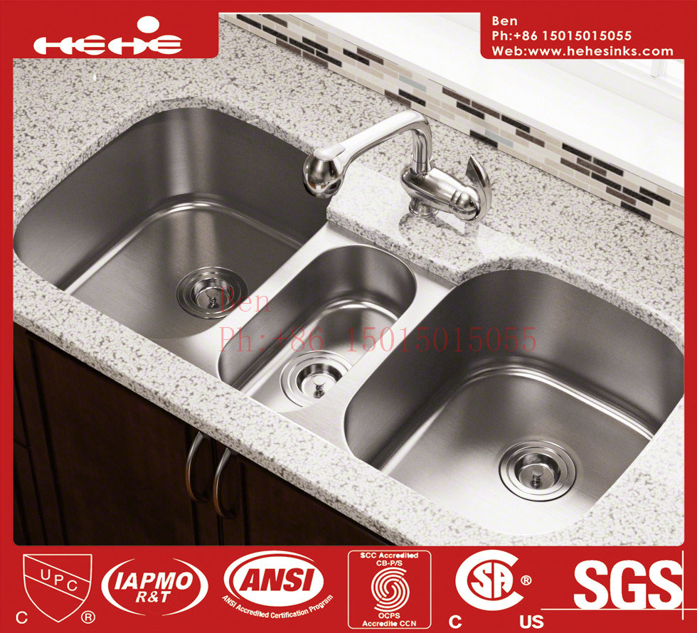 Stainless Steel Under Mount Triple Bowl Kitchen Sink with CSA Approved