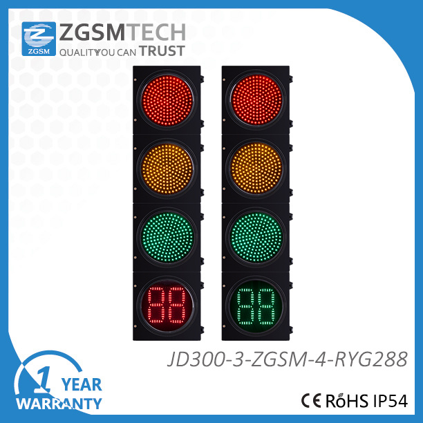 300mm 12 Inch LED Traffic Light Red Yellow Green and 2 Digital Countdown Timer