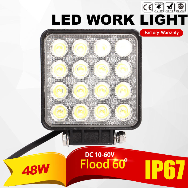 48W LED Work Lamp Waterproof IP67