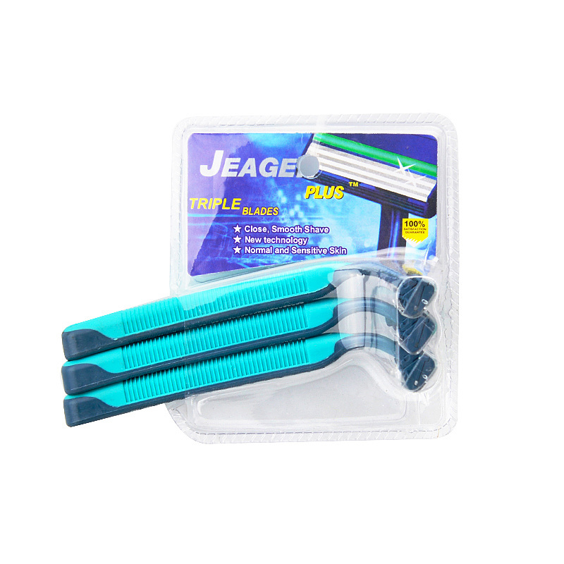 3PC Double Blister Card Packaging Triple Blade Disposable Razor (PK-04)