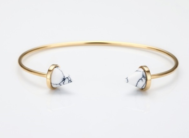 White Domed Marble Stone Open Cuff Fashion Jewelry