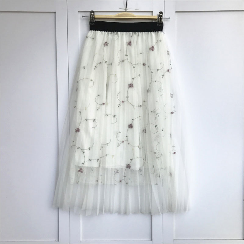 Plaid Floral Front Button Solid Color Elastic Waist Pleated Mini Skirt