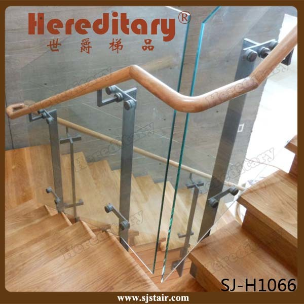 Indoor Wood Handrail Stainless Steel Glass Stair Railing (SJ-S087)