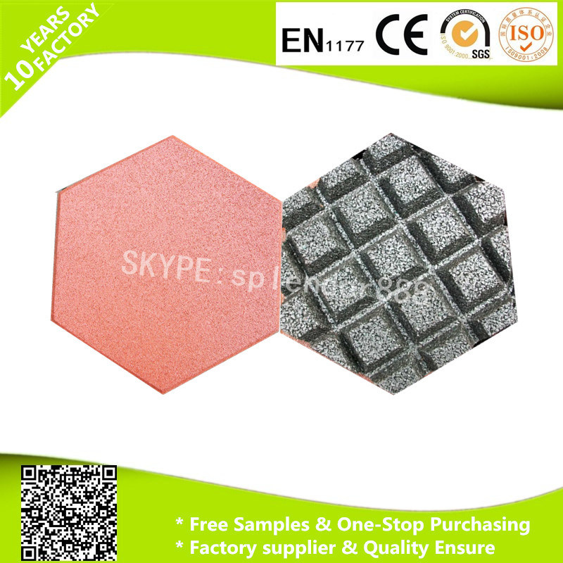 High Quality 20mm Water Drain Channels Hexagon Rubber Flooring Tile