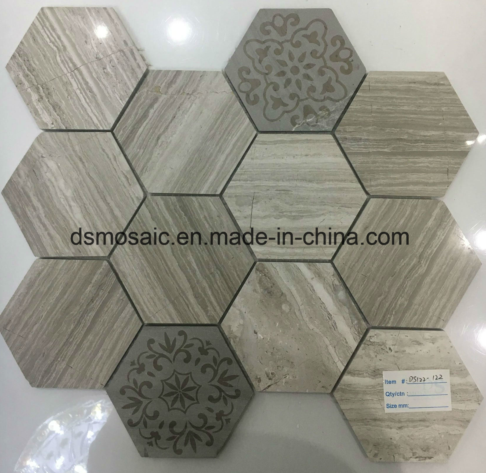Wooden Grain Grey Hexagon Marble Mosaic Tile