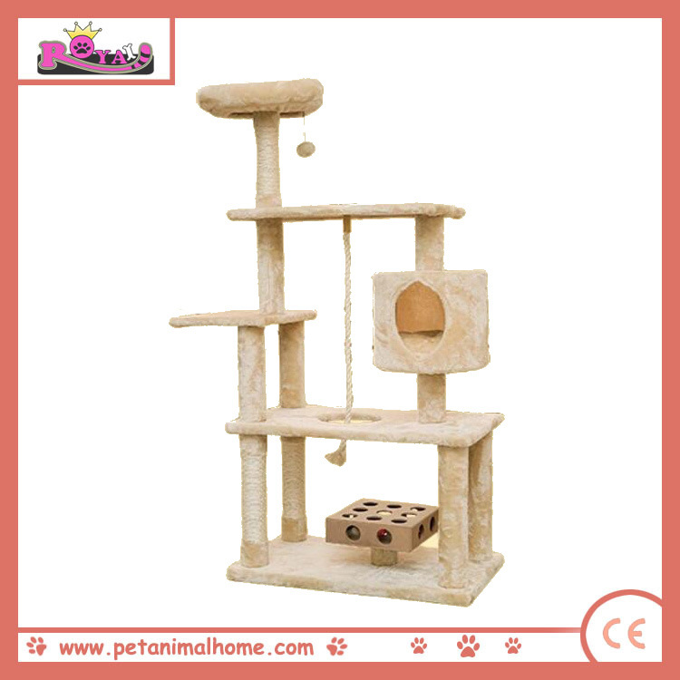140cm Beige Luxury Cat Playing Center Tree with Condo