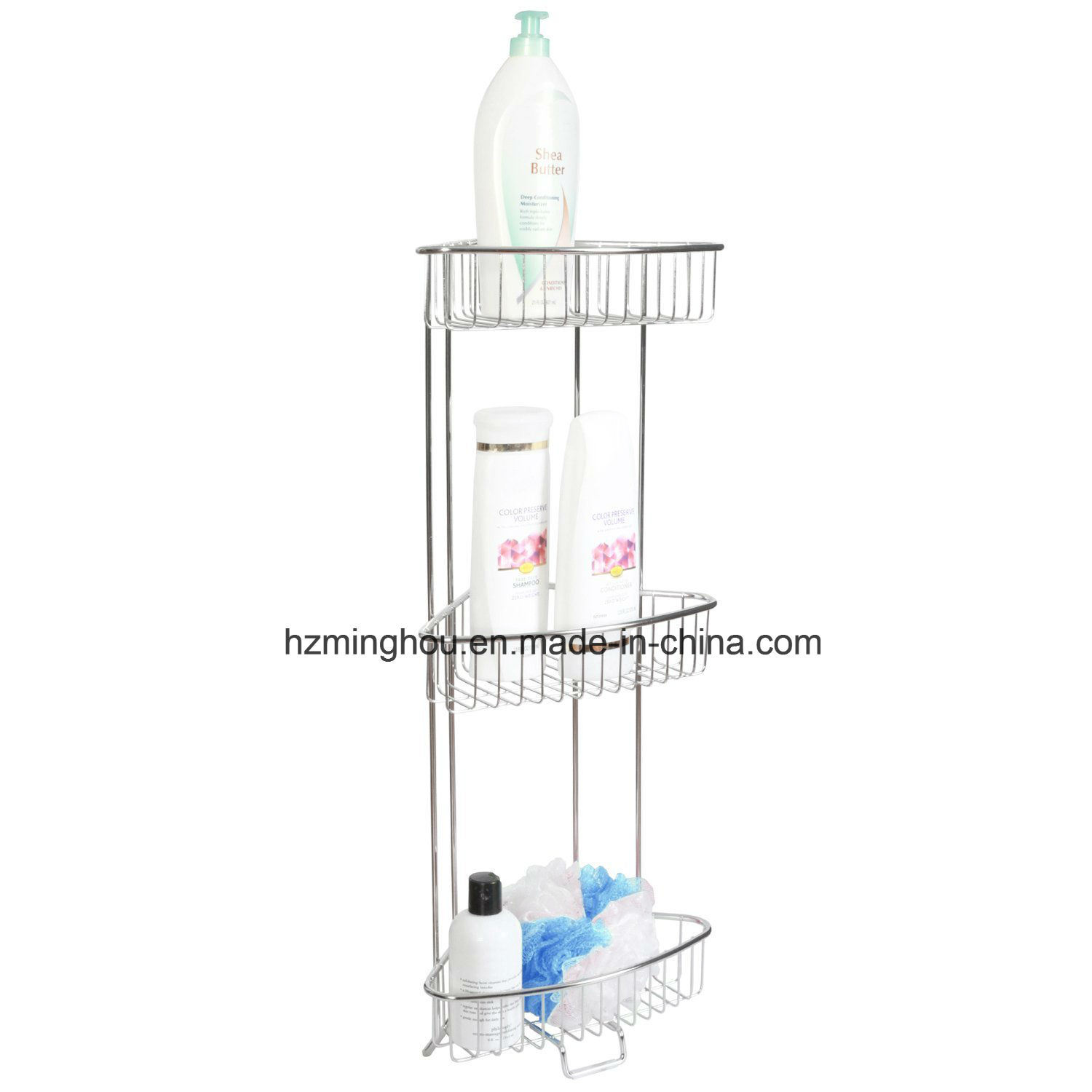 Shower Floor Caddy Wall Mounted Metal Display Shelf Rack