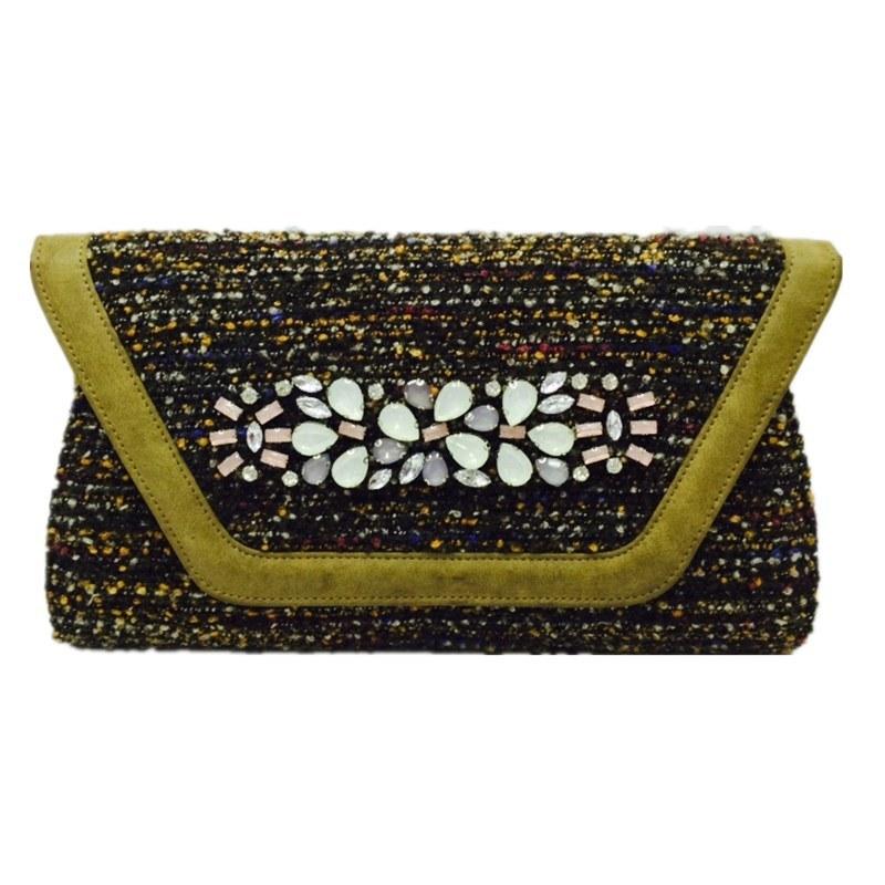Black Woven clutch Crystal Flower Eveningbag
