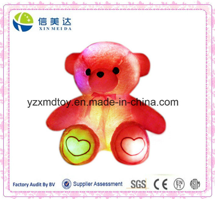 Plush Electronic LED Light Induction Loving Heart Bear Toy (XDT-035S)