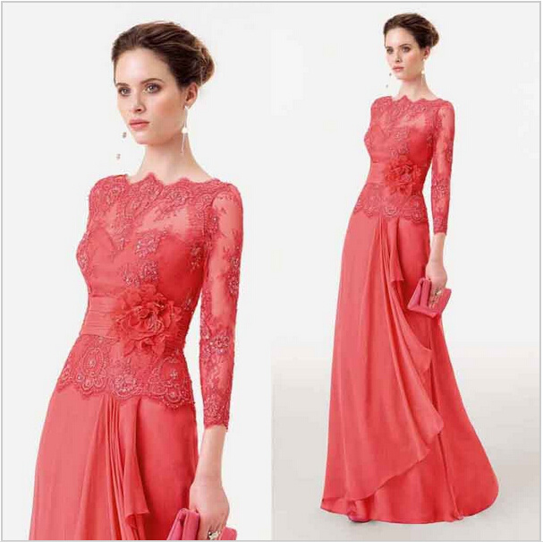 Coral Wedding Gowns: China Coral Lace Bridesmaid Dresses A-Line Chiffon Mother