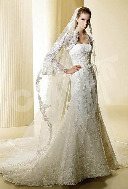 Long Sleeve Mermaid Lace Bridal Gown 02051108