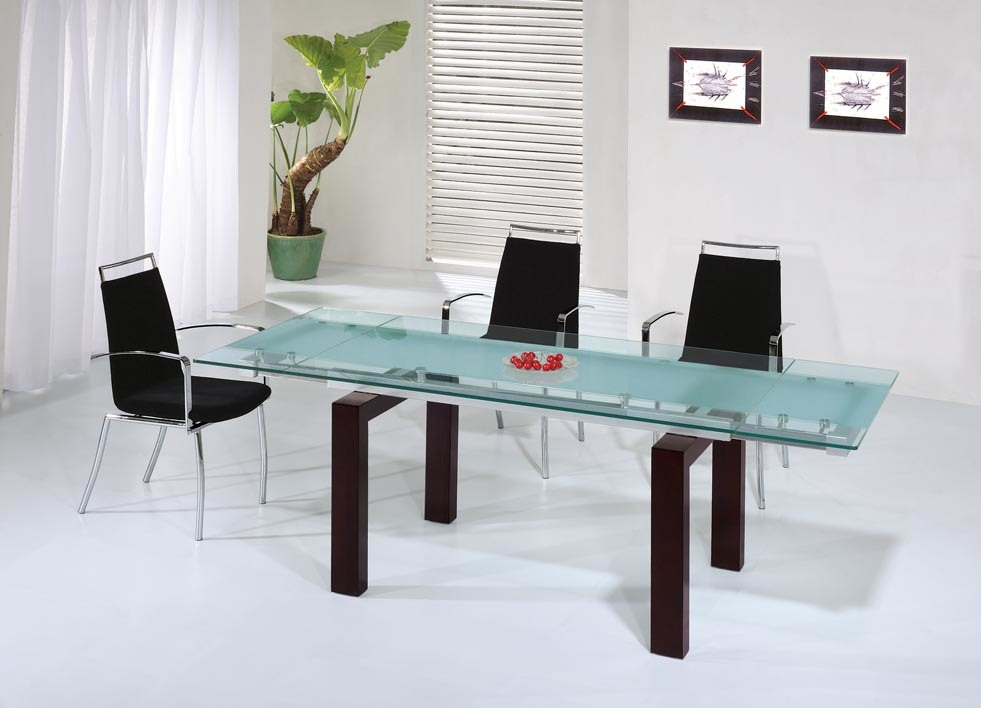 China Long Glass Table With Wood Leg D133 C120 China
